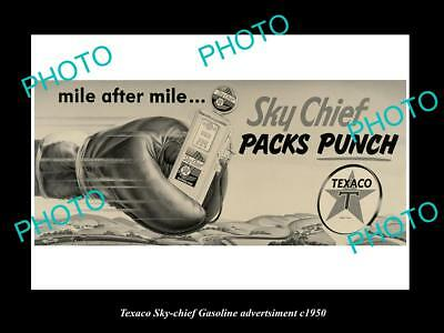 OLD LARGE HISTORIC PHOTO OF TEXACO OIL Co SKY CHIEF GASOLINE POSTER c1950 2
