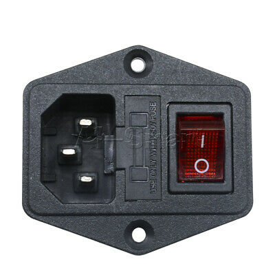 AC 250V 10A 3 Terminal Black Red Power Socket with Fuse Holder