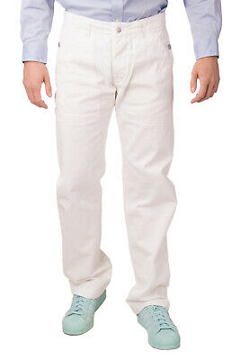 DANIELE ALESSANDRINI Jeans Size 33 White Button Fly Straight Leg Made in Italy