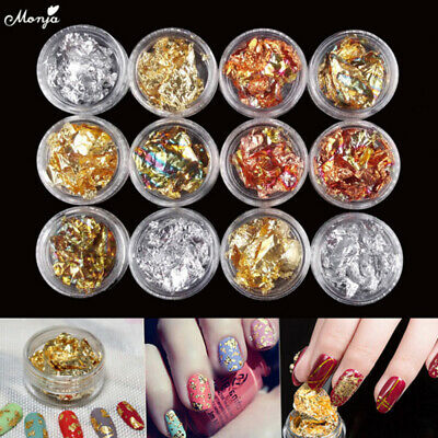 NEW 6pcs Nail Art Gold Silver metal foil paper Flake Sticker Decal Decoration