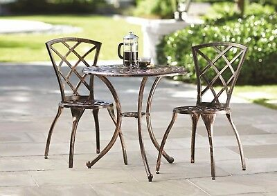Small Cafe Bistro Table Set Outdoor Dining Metal Cast Aluminum Balcony Kitchen