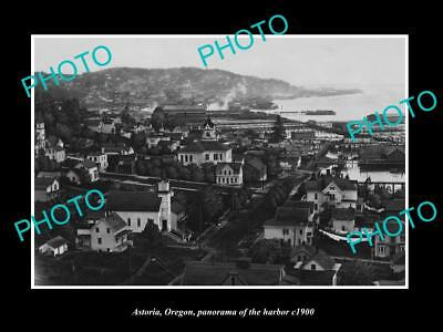 OLD LARGE HISTORIC PHOTO OF ASTORIA OREGON, PANORAMA OF THE HARBOR c1900