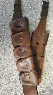 WW1 9 pocket leather bandolier Light Horse cavalry mounted infantry broad arrow