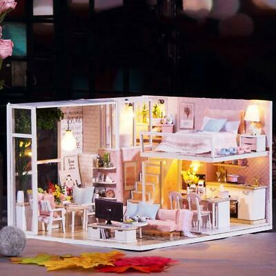 1/24 Miniature Dollhouse LED Light Furniture Doll House DIY Kit Kids Gifts Toy