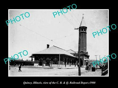 OLD LARGE HISTORIC PHOTO OF QUINCY ILLINOIS, THE RAILROAD DEPOT STATION c1900