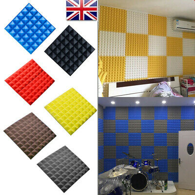 20pcs Tiles Acoustic Panels Sound Proof Flame Retardant Absorption Foam Wall MAL