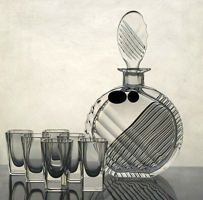 Fabulous Vintage Bohemian Crystal Hand Cut Glass decanter and 6 glasses
