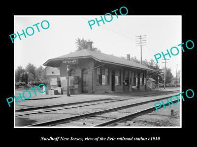 OLD LARGE HISTORIC PHOTO OF NORDHOFF NEW JERSEY, ERIE RAILROAD STATION c1910