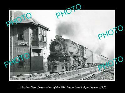 OLD LARGE HISTORIC PHOTO OF WINSLOW NEW JERSEY, THE RAILROAD SIGNAL TOWER c1950