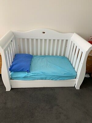 As NEW White BABY COT Boori Royale Sleigh Cot White 3 In 1 Bed RRP$1299 VIC
