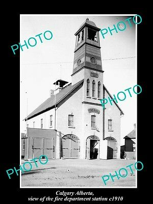OLD LARGE HISTORIC PHOTO OF CALGARY ALBERTA, THE FIRE DEPARTMENT STATION c1910