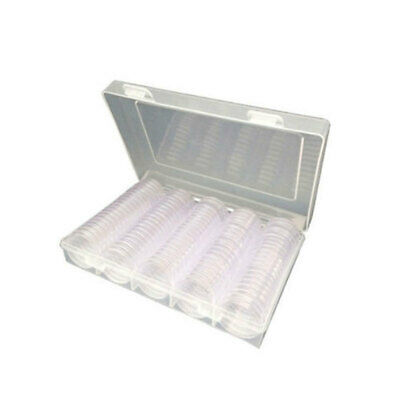 100-Coin-Cases Capsules Containers Holder Storage Clear Round Box 30mm bhj