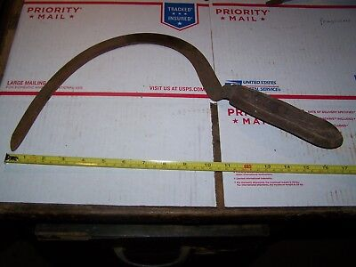 Vintage Wooden Handle Weed Cutter Hand Sickle Stamped Rock River Works
