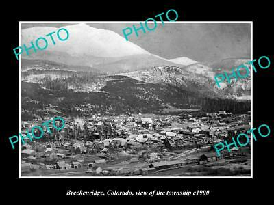 OLD LARGE HISTORIC PHOTO OF BRECKENRIDGE COLORADO, VIEW OF THE TOWNSHIP c1900