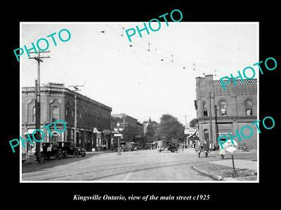 OLD LARGE HISTORIC PHOTO OF KINGSVILLE ONTARIO, VIEW OF THE MAIN STREET c1925