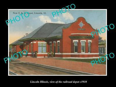 OLD LARGE HISTORIC PHOTO OF LINCOLN ILLINOIS, THE RAILROAD DEPOT c1910