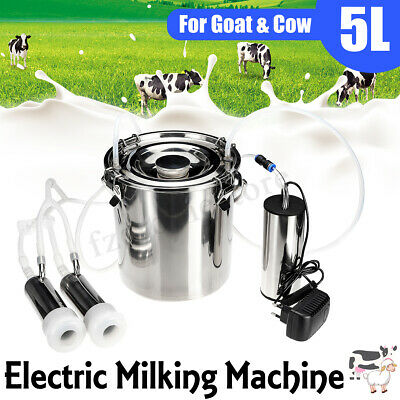 5L Stainless Steel Electric Milking Machine Cow Goat Milker 2 Upgraded Head UK