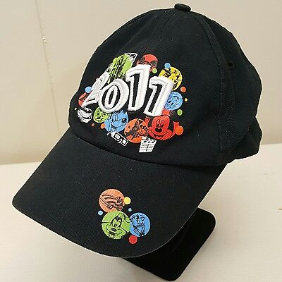 Disney Parks 2011 Hat Cap Black Cotton Adult Mickey Donald Dumbo Chip Dale Pluto