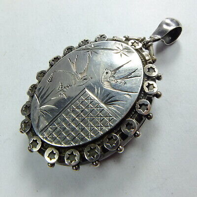 Antique Victorian Large Silver Aesthetic Engraved Birds Locket Pendant Birm 1883