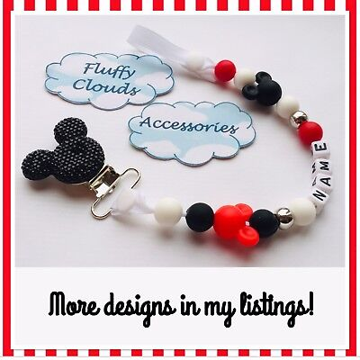 Baby Personalized Silicon Bead Pacifier Soother Dummy Clip BPA Free-boys Girls