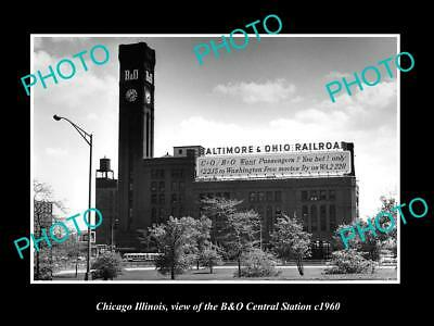 OLD LARGE HISTORIC PHOTO OF CHICAGO ILLINOIS, B&O CENTRAL RAILWAY STATION c1960