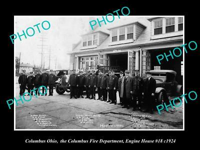 OLD LARGE HISTORIC PHOTO OF COLUMBUS OHIO, THE FIRE DEPARTMENT & STATION c1924