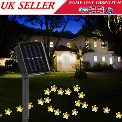 50 LED Blossom Solar Power Fairy Lights String Garden Outdoor Party Wedding Xmas