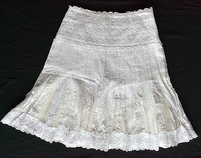 cf23728a9a ECI New York 6 Snow White Lace Skirt Extra Full w/ Silk Pleats Skirt  IMMACULATE