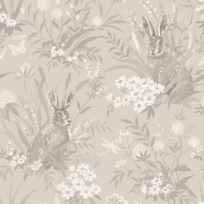 Aayla Taupe Hares Wallpaper Woodland Rabbits 90883
