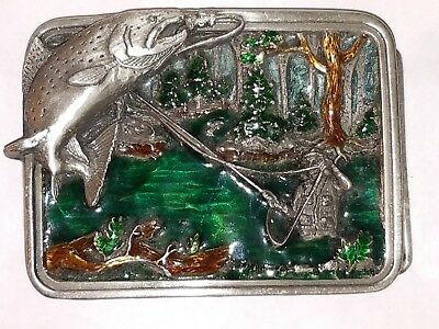 Trout/Fly Fisherman - Bergamot Brass Works Belt Buckle 1983 **Made in the USA**