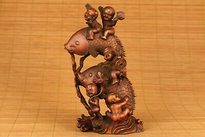 antique chinese old boxwood hand carved belle statue netsuke collectable