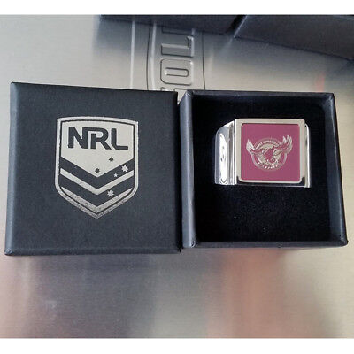 Manly Sea Eagles NRL Etched Logo Stainless Steel Mens Ring Memorabilia Gifts