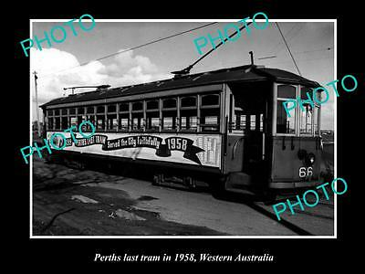Old Large Historic Photo Of Perth's Last Ever Tram Carraige 1958, West Australia