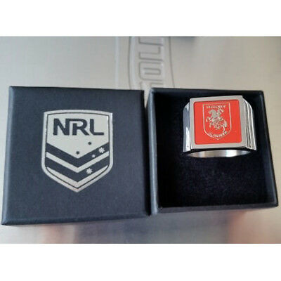 St George Dragons NRL Etched Logo Stainless Steel Mens Ring Memorabilia Gifts