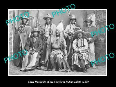 OLD LARGE HISTORIC PHOTO OF SHOSHONI INDIAN CHIEF, CHIEF WASHAKIE & CHIEFS c1890
