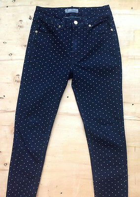 GIRLS COLLECTION/TNT DENIM Jeans SKINNY Black  White Dots Teen Size 38
