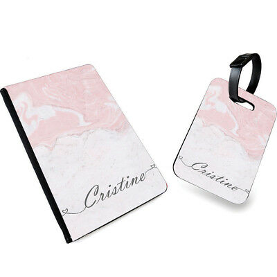 Personalised NAME MARBLE Print PU Leather Passport Cover & Luggage Tag- 0010