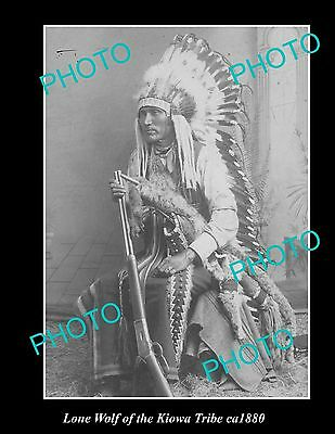 OLD LARGE HISTORIC PHOTO OF INDIAN CHIEF LONE WOLF OF THE KIOWA TRIBE c1880