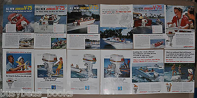 1959-64 JOHNSON advertisements x12, Sea-Horse outboard motor, Sea-Horse V-75 etc