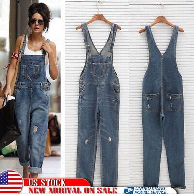 Women Denim Jeans Ripped Overall Casual Straps Jumpsuit Dungaree Romper Trousers