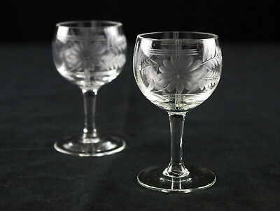 Daisy & Fern Gray Cut Cordial Glasses Set, Antique Blown Etched Floral, Lines