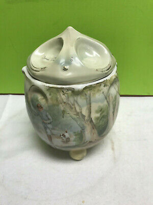 "vintage ROYAL BAYREUTH covered round cannister candy jar dish bowl 7x5"" footed"