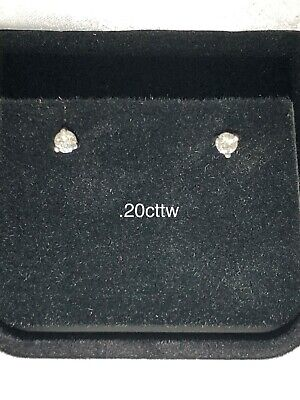 Genuine Diamond Martini Stud Earrings, 14k White Gold .20ct TW H-I SI1/SI2