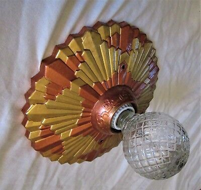 Vtg Deco Polichrome Brass Flush Mount Chandelier Ceiling Fixture 1930'S
