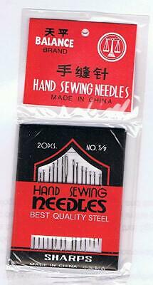 20 Piece Steel Hand Sewing Needle Assorted Set Stitch & Sew Kit Needles