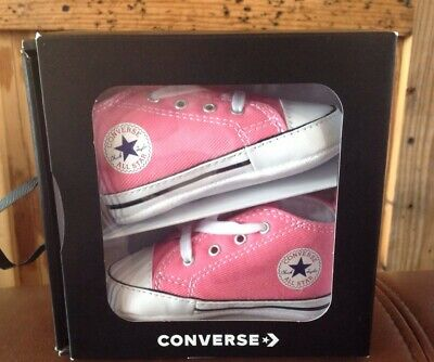 aba2e9e593fbc New In Box Converse Baby First Chuck Taylor All Star Crib Shoes Pink Size 2