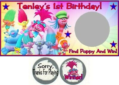 10 Trolls Birthday Party Baby Shower Scratch Off Game Lottery Tickets