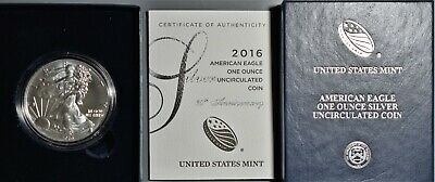 2016-W Us Mint Burnished American Silver Eagle Lettered Edge W/ Box & Coa A8551