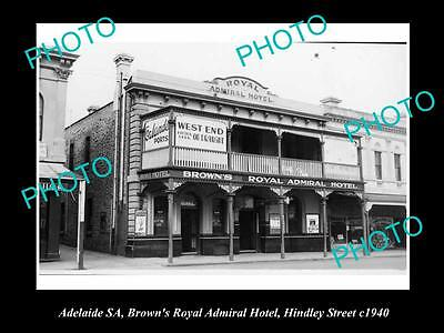 OLD LARGE HISTORICAL PHOTO OF ADELAIDE SA, BROWNS ROYAL HOTEL, HINDLEY St 1940