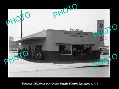 Old Historic Photo Of Pomona California, Pacific Electric Bus Depot 1940